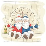 Two cheerful Santa Claus. Christmas Vector illustration, postcard. Grandfathers fun celebrate the new year on the tower with a clock Royalty Free Stock Image