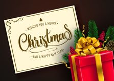 Christmas Vector Illustration with Red Gift Box in Dark Color Background stock illustration