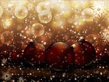 Christmas vector illustration red glossy balls gold background royalty free illustration