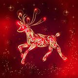 Christmas vector illustration of a reindeer in red-gold colors. New Year card. Congratulations on the holiday. Silhouette of a stock illustration