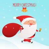 Christmas vector illustration. Santa Claus is running with big sack stock illustration