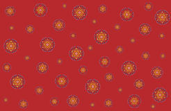 Christmas vector illustration with snowflakes on red background. Stock Photos