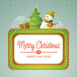 Christmas vector illustration with snowman Stock Images
