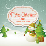 Christmas vector illustration with snowman Royalty Free Stock Images