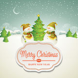Christmas vector illustration with snowman Royalty Free Stock Photos