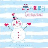 Christmas vector illustration with snowman Stock Photo