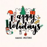 Christmas vector lettering illustration. Royalty Free Stock Image