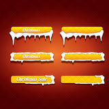 Christmas vector orange glossy buttons set. On classic red background. web orange christmas sale buttons with snow, ice border and christmas text Royalty Free Stock Photos