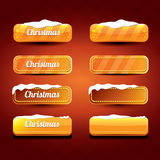 Christmas vector orange glossy buttons set. On classic red background. web orange christmas sale buttons with snow, ice border and christmas text Royalty Free Stock Images