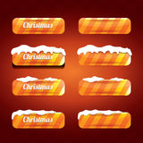 Christmas vector orange glossy buttons set Stock Photography