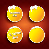 Christmas vector orange glossy buttons set Royalty Free Stock Photos
