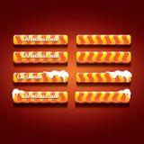 Christmas vector orange glossy buttons set Stock Photos