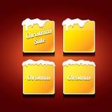 Christmas vector orange glossy buttons set Stock Image