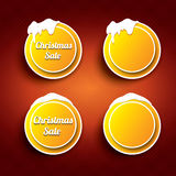 Christmas vector orange glossy buttons set Royalty Free Stock Images