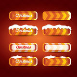 Christmas vector orange glossy buttons set Royalty Free Stock Image