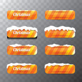 Christmas vector orange glossy buttons set. With transparent shadow. web orange christmas buttons with snow, ice border Stock Images