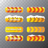 Christmas vector orange glossy buttons set Stock Photo