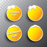 Christmas vector orange glossy buttons set Stock Images