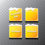Christmas vector orange glossy buttons set Royalty Free Stock Photo