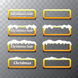 Christmas vector orange glossy buttons set Stock Image