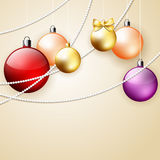 Christmas vector ornament background. With colorful decorative balls and palce for text, vector illustration royalty free illustration