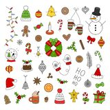 Christmas vector outlined icon set royalty free illustration