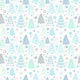 Christmas vector pattern with colorful fir-trees on a white back Stock Photos