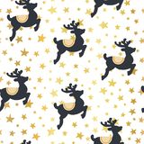 Christmas vector pattern reindeer and gold stars stock illustration