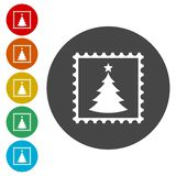 Christmas Vector post stamps on white background royalty free illustration