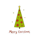 Christmas vector postcard with fir trees and a handwritten. Greeting. Hand drawn illustration Stock Image