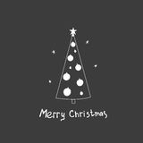 Christmas vector postcard with fir trees. And a handwritten greeting. Hand drawn illustration Stock Photography