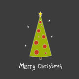 Christmas vector postcard with fir trees. And a handwritten greeting. Hand drawn illustration Royalty Free Stock Image