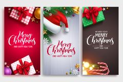 Christmas vector poster design set with colorful elements. And merry christmas greeting text in an empty space. Vector illustration stock illustration