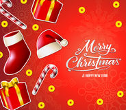 Christmas Vector on Red Background Greeting Card Illustration Royalty Free Stock Photos