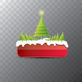 Christmas vector red button with christmas tree Stock Images