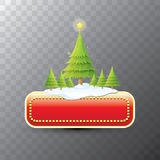 Christmas vector red button with christmas tree Royalty Free Stock Photography