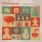 Christmas vector retro icons Royalty Free Stock Images
