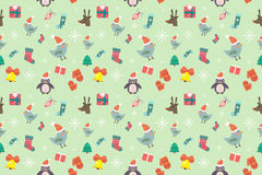 Christmas vector seamless pattern background. Icons set. Christmas tree, Christmas ball, Christmas bird, Christmas Tree, Christmas socks. Christmas Gift, balls Royalty Free Stock Photography