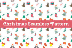 Christmas vector seamless pattern background. Icons set. Christmas tree, Christmas ball, Christmas bird, Christmas Tree, Christmas socks. Christmas Gift, balls Royalty Free Stock Image