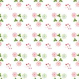 Christmas vector seamless pattern. Christmas seamless pattern with berry,Snowflakes background.Bright winter ornament . royalty free illustration