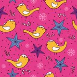 Christmas vector seamless pattern with birds Stock Photos