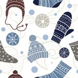 Christmas vector seamless pattern. Merry xmas pattern with cute winter accessories: socks, hats, mittens. Hand draw texture of clothes with ornaments. New Year vector illustration