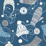 Christmas vector seamless pattern. Merry xmas pattern with cute winter accessories: socks, hats, mittens. Hand draw texture of clothes with ornaments. New Year royalty free illustration