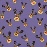 Christmas Vector Seamless Pattern with Deers Faces in Doodle Style Royalty Free Stock Photography