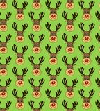 Christmas Vector Seamless Pattern with Deers Faces in Doodle Style Royalty Free Stock Image