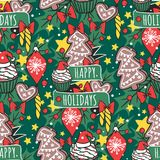 Christmas vector seamless pattern New Year hand drawn card design style holiday wallpaper decoration Christmas Royalty Free Stock Images