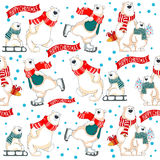 Christmas vector seamless pattern with polar bears. Pattern with polar bears, gifts and christmas tree Royalty Free Stock Images