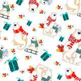 Christmas vector seamless pattern with polar bears. Pattern with polar bears, gifts and christmas tree Royalty Free Stock Photography