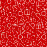 Christmas vector seamless pattern on red background Stock Photos