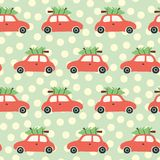 Christmas Vector seamless pattern with red car and christmas tree on the roof. Vintage holiday background with retro cars and royalty free illustration
